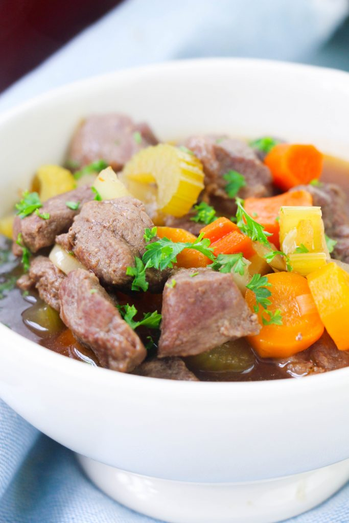 beef stew in white bowl
