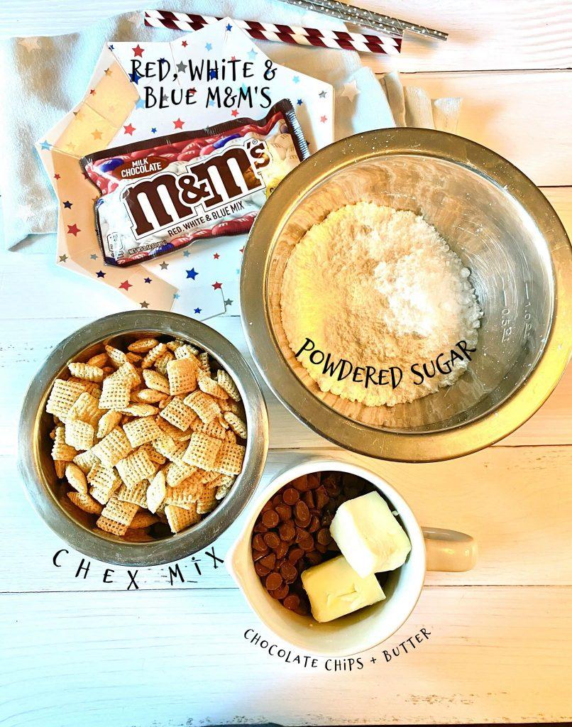 ingredients to make red, white & blue muddy buddies