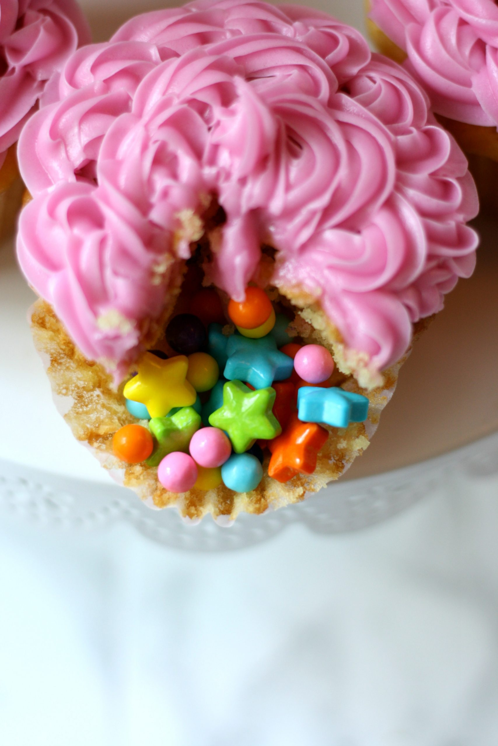 confetti surprise cupcakes