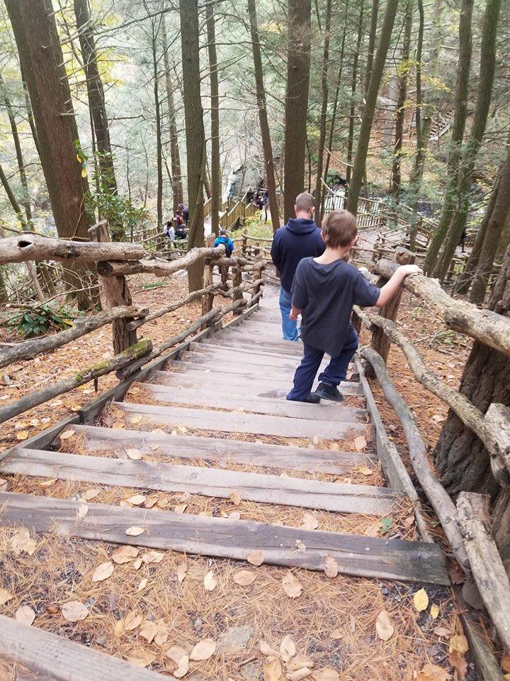 walking at bushkill falls