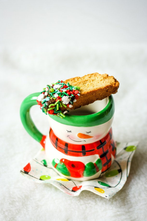 biscotti cookies on a coffee cup
