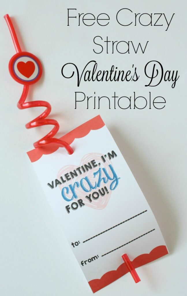 Check out this adorable crazy straw valentine printable for the kids to give to their friends this Valentine's Day!