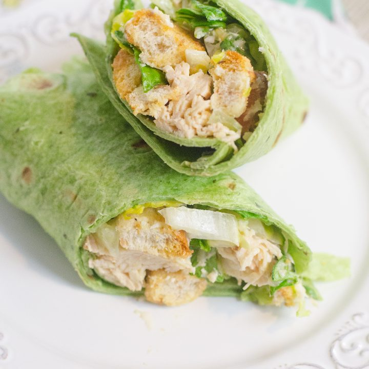 Instant Pot Caesar Chicken Wrap on white plate