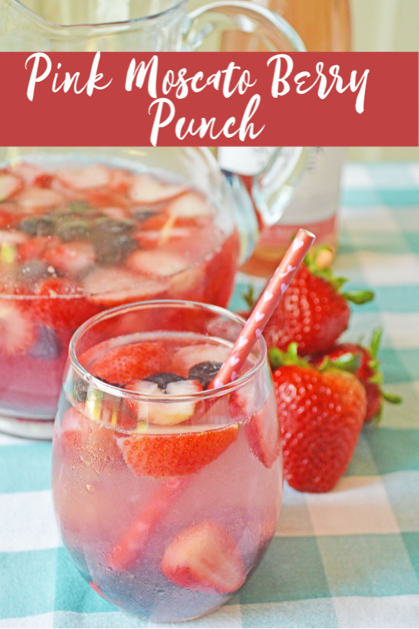 This Pink Moscato Berry Punch is a fun recipe for all of your summer get togethers!
