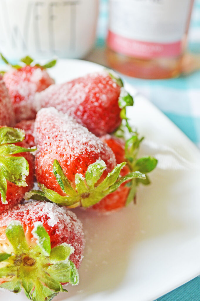 pink moscato strawberries