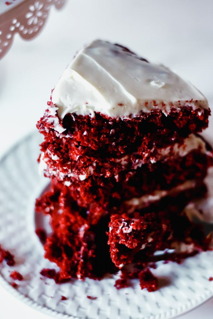 Red Velvet Cake on a white dish