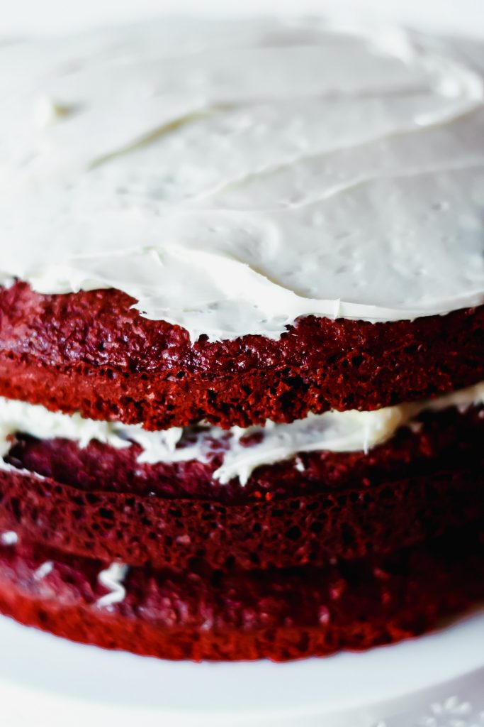 Red Velvet Cake on a white cake stand
