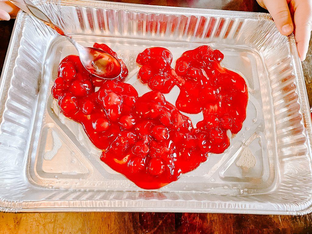 cherries in a pan