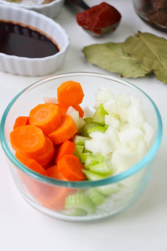 sliced carrots, onion, celery