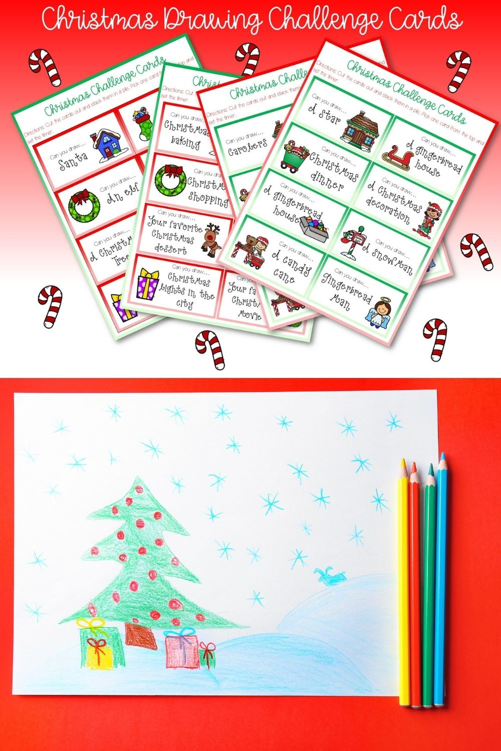 Christmas Drawing Challenge Cards