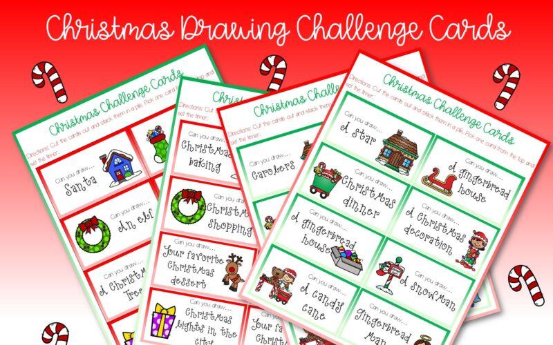 FREE Printable – Christmas Drawing Challenge Cards