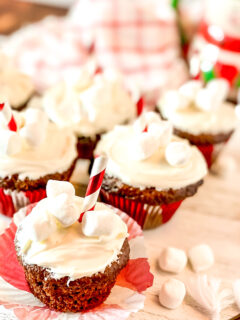 hot chocolate cupcakes with marshmallow frosting