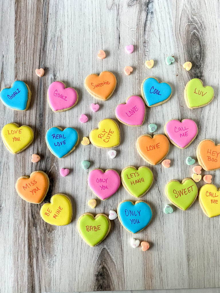 conversation hearts sugar cookies