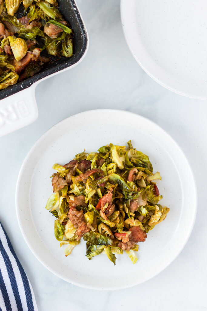 Roasted Shredded Brussel Sprouts with Bacon