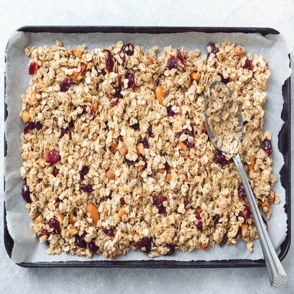 granola on a sheet pan