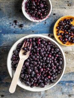 Frozen wild berries in a bowl.