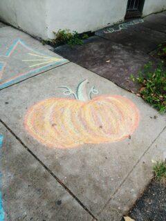 pumpkin in chalk